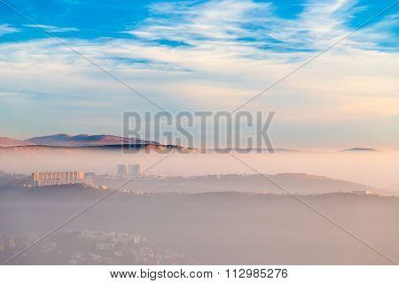 Foggy Sunset In The Bay Of Trieste