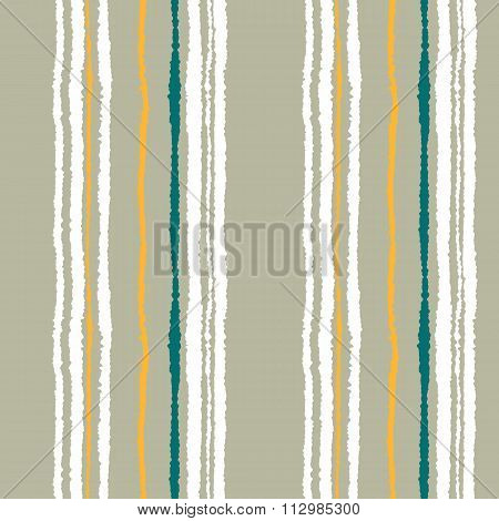 Seamless strip pattern. Vertical lines with torn paper effect. Shred edge background. Cold soft gray