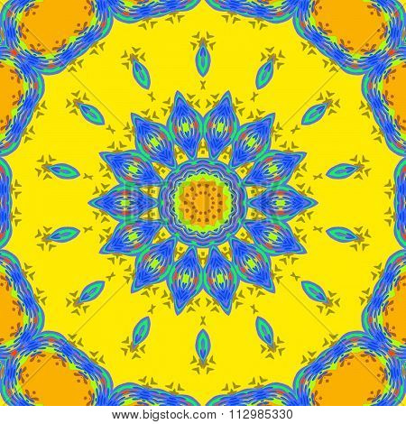 Seamless floral ornament yellow blue orange
