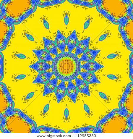 Seamless floral ornament yellow blue orange