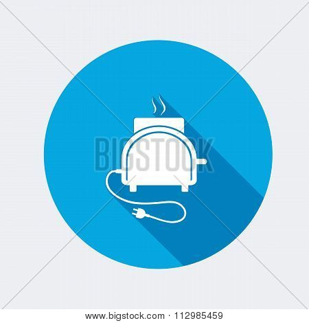 Toaster icon. Kitchen equipment. Electric cook-house appliance. Round circle flat icon with long sha
