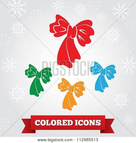 Bow icon. Holiday, birthday symbol. Red, green, blue, yellow colored signs on light gray background