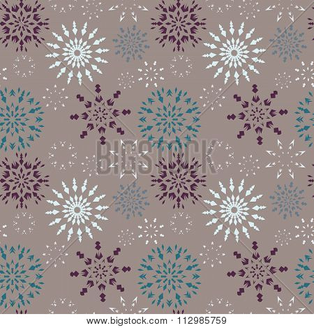 Christmas seamless pattern. Dark and light snowflake signs on gray background. Winter theme retro te