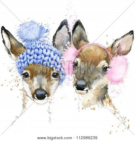 Cute forest deer T-shirt graphics, watercolor deer illustration with splash watercolor textured back