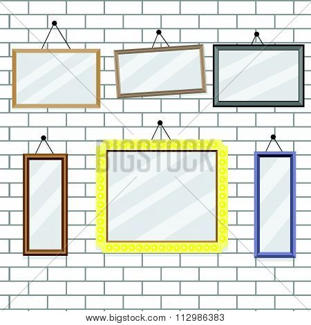 Set of picture frames on brick wall template