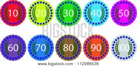 Emblem badge anniversaries color set