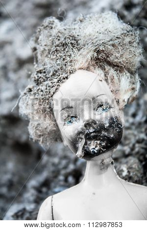 Melted And Burnt Face On Scary Girl Doll