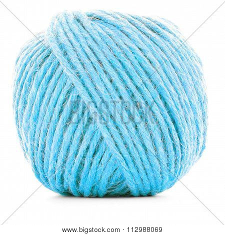 Blue Braided Clew, Crochet Yarn Roll Isolated On White Background
