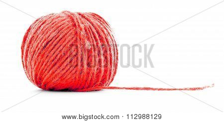 Red Fiber Clew, Sewing Thread Roll Isolated On White Background