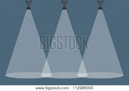 Three Spotlights Shining Down. Illuminated Rays Background.