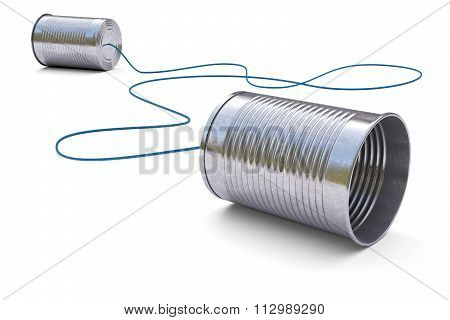 Tin Cans Telephone Isolated On White Background 3D