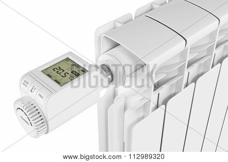Thermoregulator Valve Control On Radiator Isolated On White Background 3D