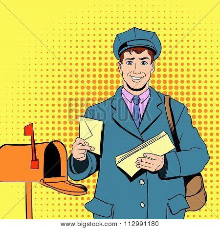 Comics postman holding mail and bag