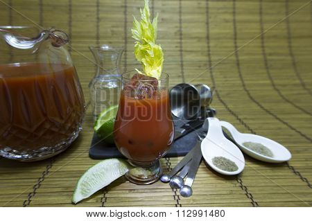 Bloody Mary Cocktail With Fixings
