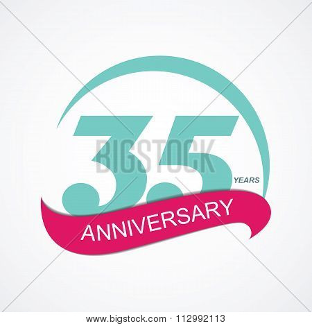 Template Logo 35 Anniversary Vector Illustration