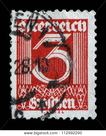 AUSTRIA - CIRCA 1925: A stamp printed in Austria shows image of the number 3, circa 1925.