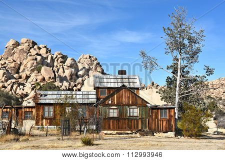 JOSHUA TREE, CALIFORNIA - JANUARY 1, 2016: Keys Ranch House. Bill and Francis Keys were early homesteaders in what now is the National Park.