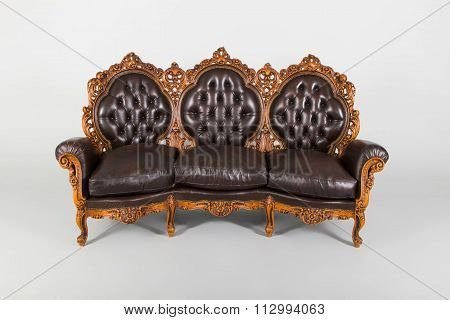 Antique Luxury Leather Settee