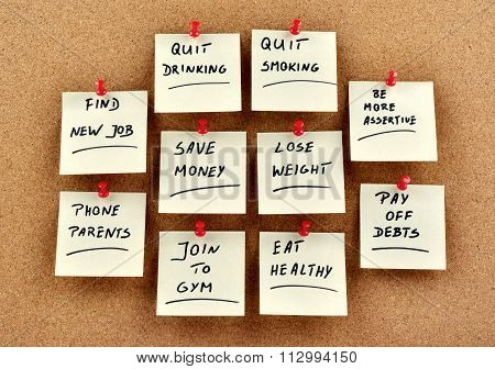New Year's Resolutions On Memo Cards