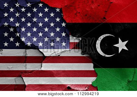 Flags Of Usa And Libya Painted On Cracked Wall