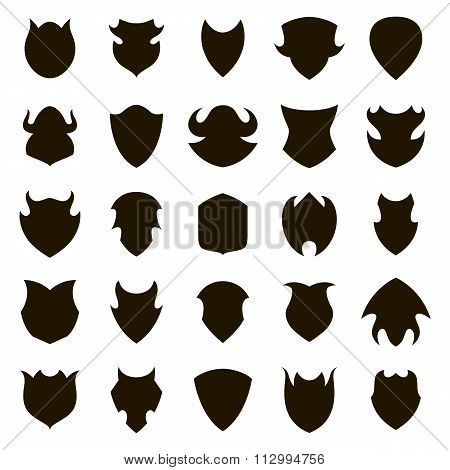 Set of different shield shapes icons. Vector.