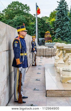 Bucharest, Romania - December 20, 2015: National Guardsmen At Heroes's Mausoleum, Carol Park. It Is