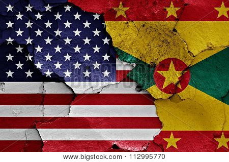 Flags Of Usa And Grenada Painted On Cracked Wall