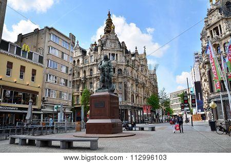 Antwerp, Belgium - May 10, 2015: Statue Of Flemish Painter David Teniers At Teniersplaats In Antwerp