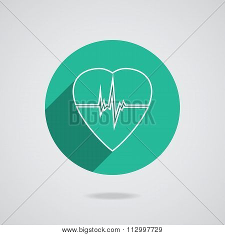 Defibrillator Heart Icon Isolated On Green Background. Vector Illustration Eps10