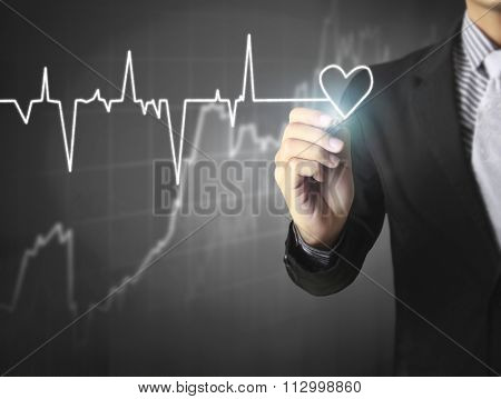 drawing heart and chart heartbeat