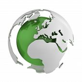 Abstract Green Globe, Europe poster