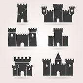 Постер, плакат: Castle set of black silhouettes