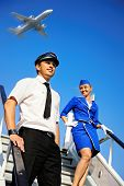picture of cabin crew  - Picture of a beautiful cabin crew couple - JPG