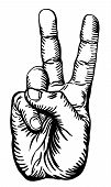 stock photo of peace-sign  - a black and white illustration of the human hand giving the victory salute or peace sign - JPG