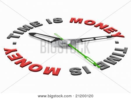 Time is money don't go waisting time, isolated clock with money time icon
