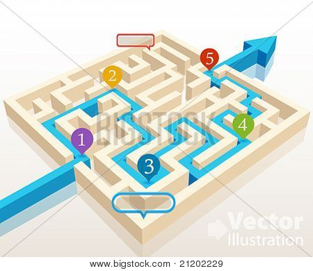 Solved maze with colorful signs. Vector illustration.