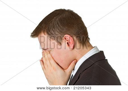 Businessman Hiding His Face In Shame