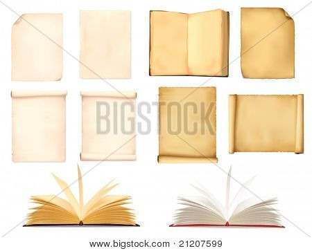 Set of old paper sheets. Vector illustration.