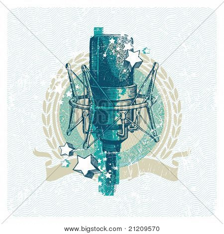Abstract musical emblem with hand drawn studio condenser microphone