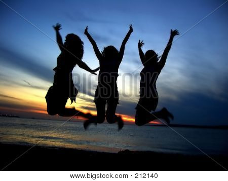 Three Girl Friends Celebrating Youth