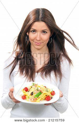 Waitress Woman Holding Plate Macaroni, Spaghetti Pasta