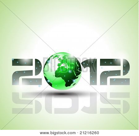 High tech and ecology green style 2012 happy new year celebration background for your posters, flyers and business presentations.