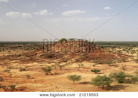 A hill in African savanna