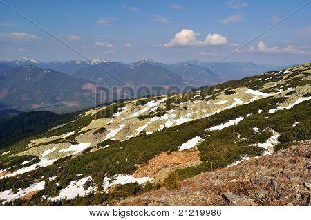 Spring Gorgany Ridges In Carpathians