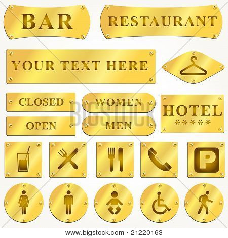 Vector Old golden plates and signboards with text