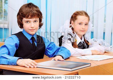 Portrait of a schoolchildren in a classroom.