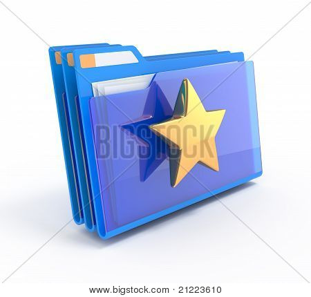 Blue Folders With A Star.