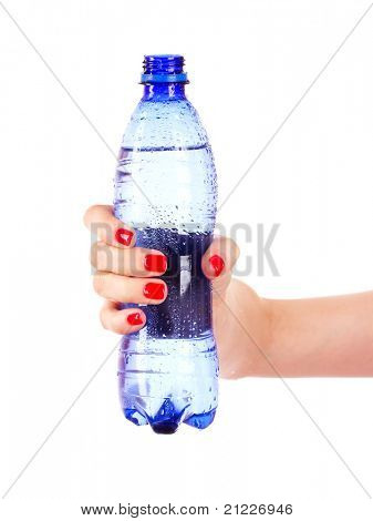 woman's hand and bottle of water isolated on white