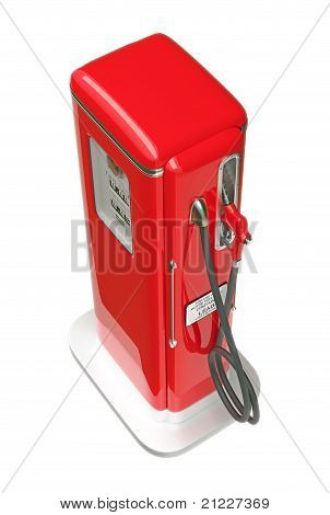 Retro Red Gasoline Pump Isolated Over White