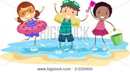 Illustration of Kids Playing on the Beach
